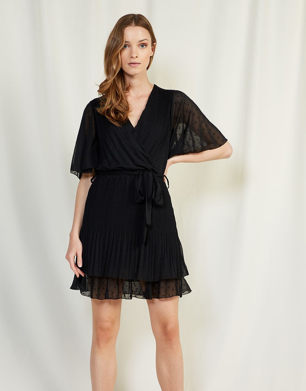 WRAP DRESS WITH EMBOSSED POLKA DOTS
