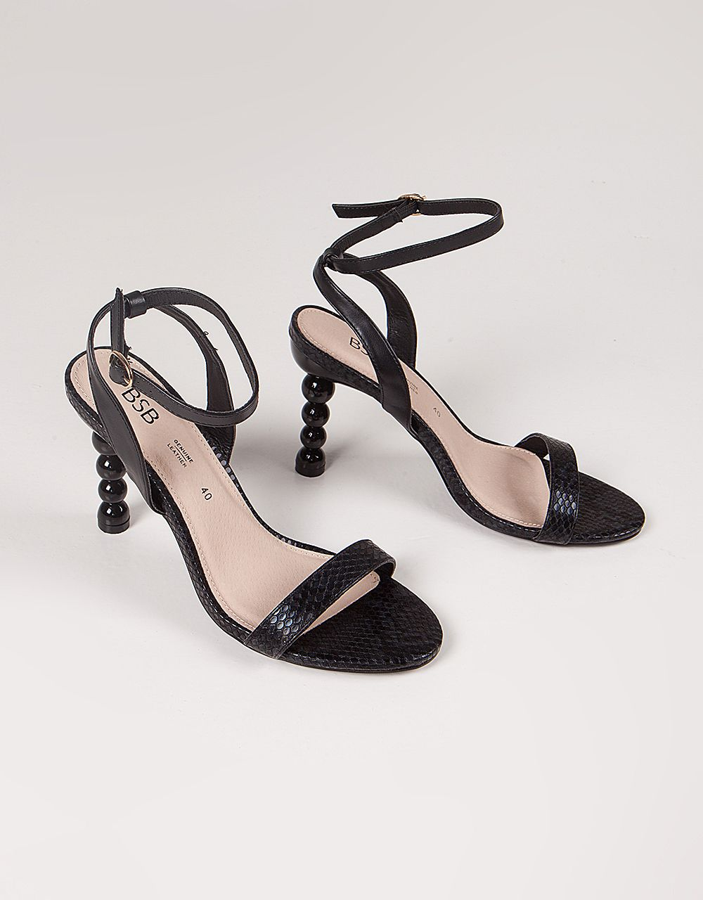 GEO-HEEL SANDALS WITH ANKLE STRAP