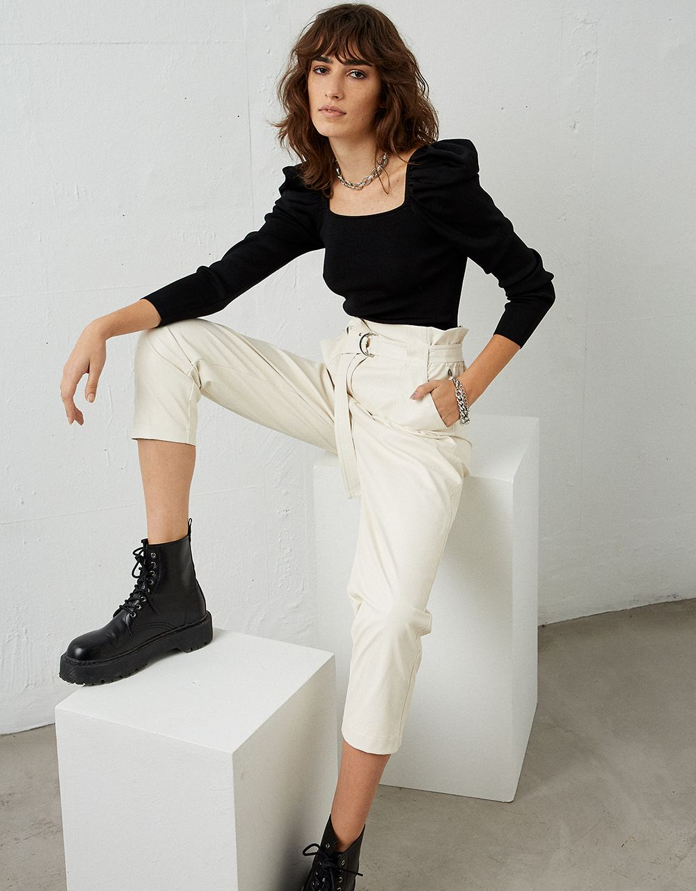 ALICE LEATHER LOOK TROUSERS