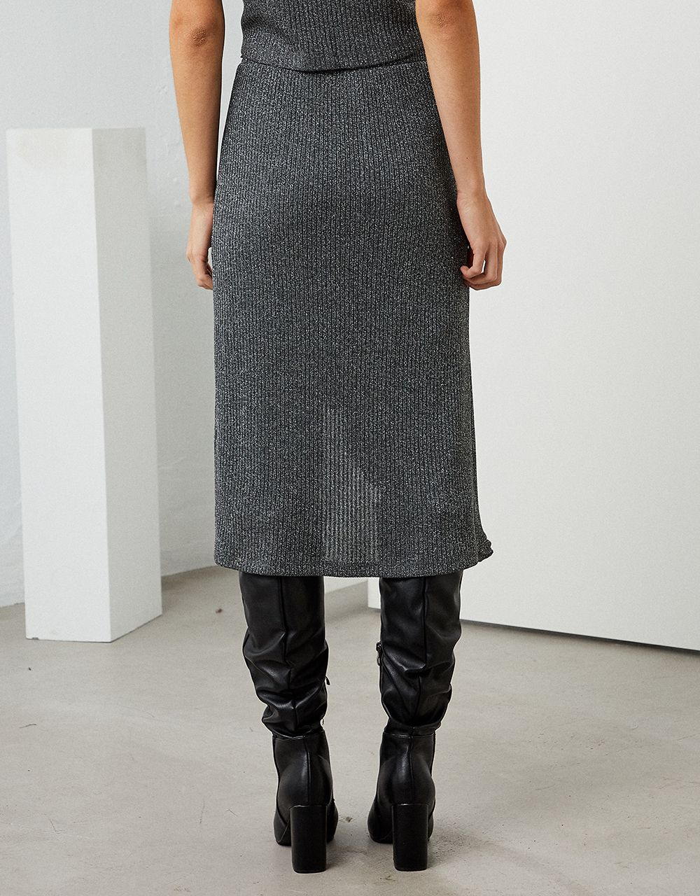 LUREX MIDI SKIRT