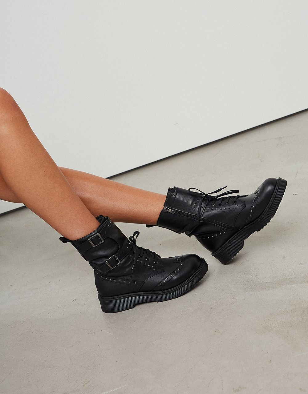 STUDDED FLAT LEATHER ANKLE BOOTS WITH