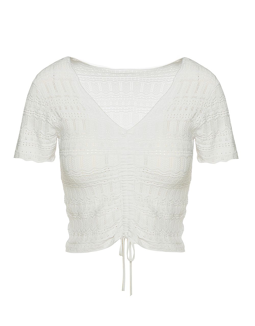 KNIT TOP WITH GATHERED FRONT