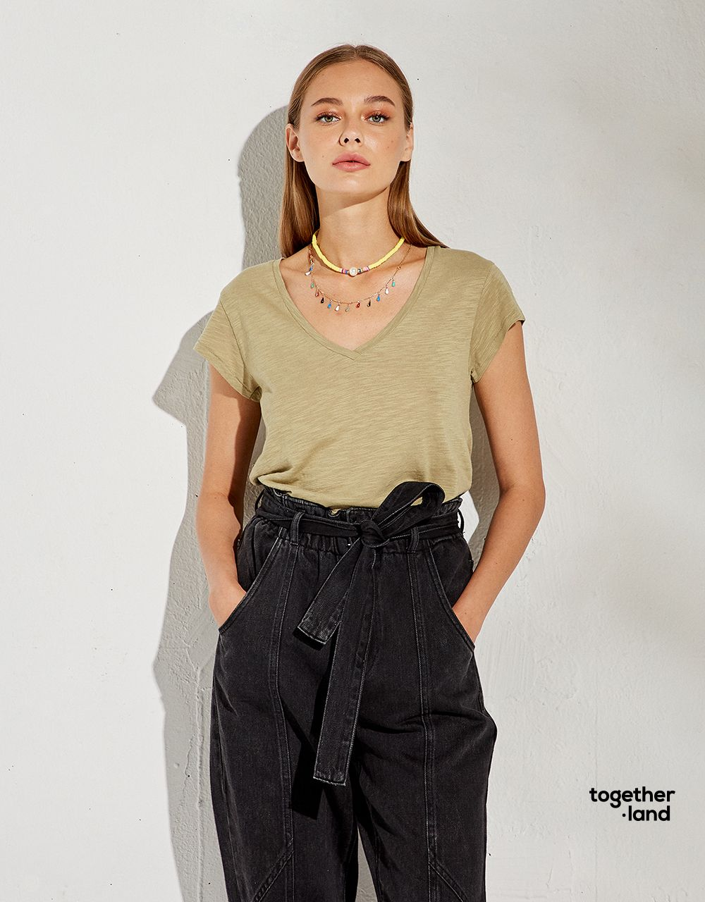 BASIC TOP WITH SHORT SLEEVES - TOGETHERLAND