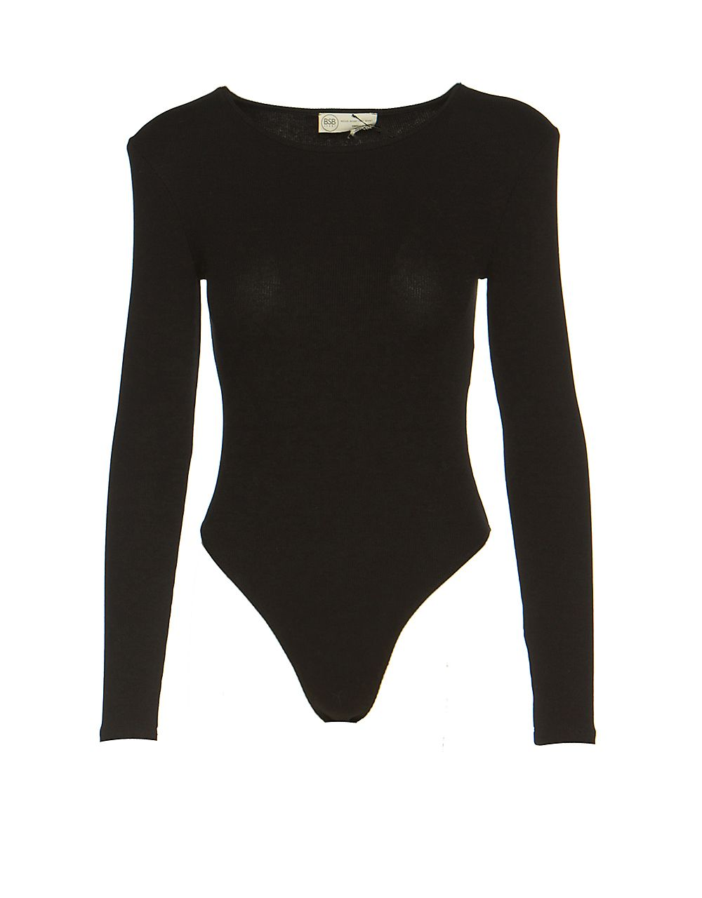 RIB BODYSUIT WITH PADDED SHOULDERS