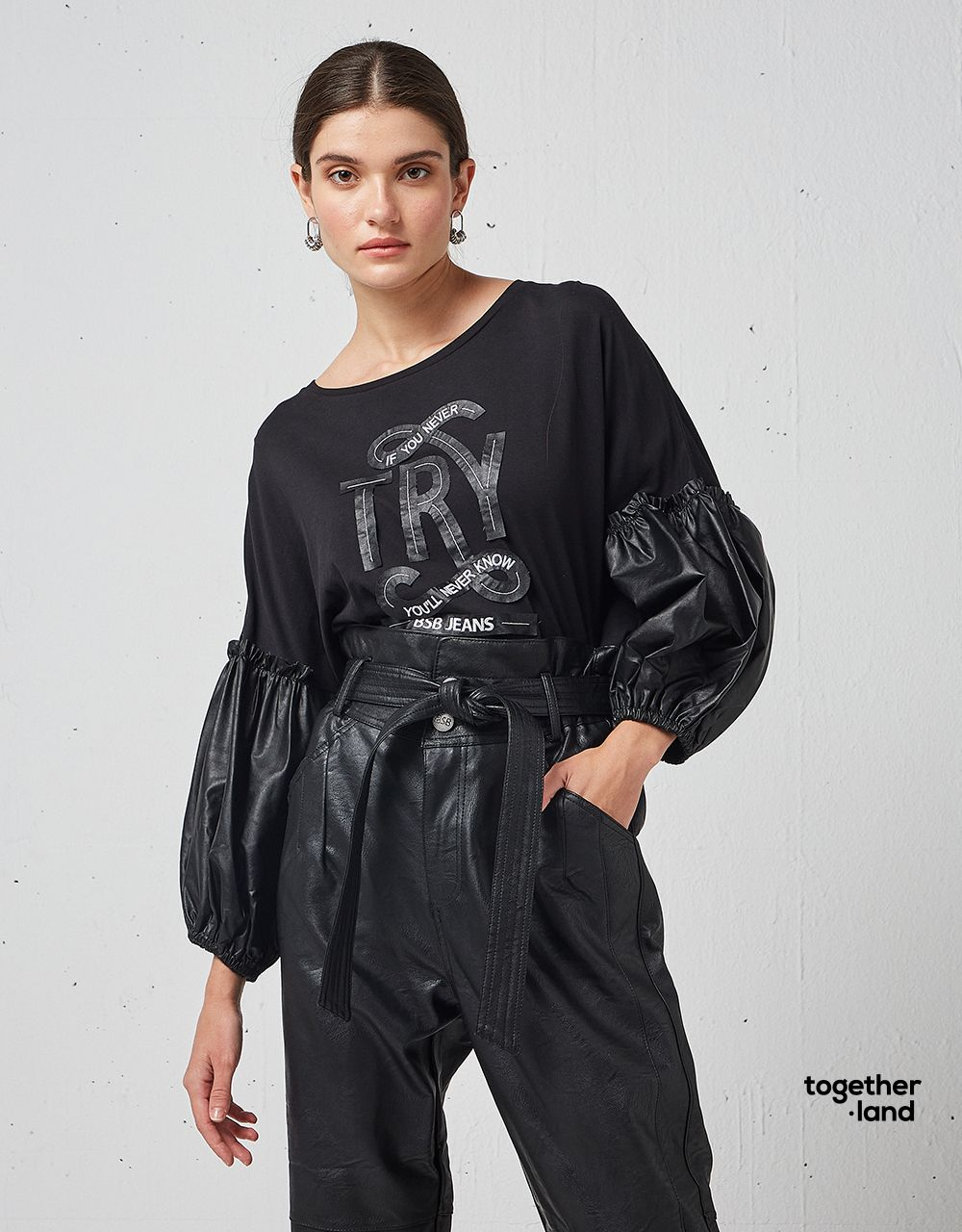 BLOUSE WITH LEATHER LOOK SLEEVES - TOGETHERLAND