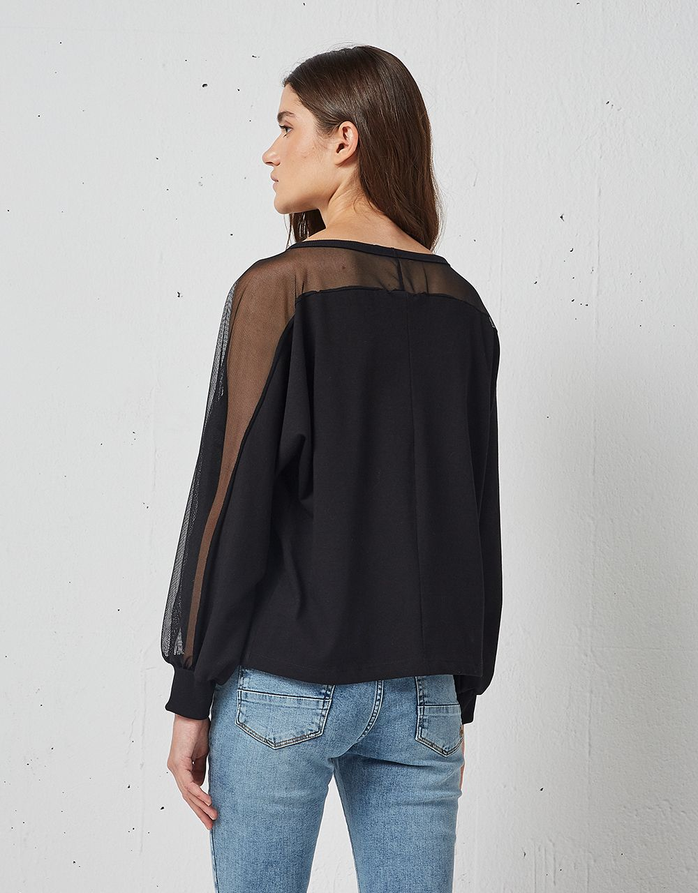 BLOUSE WITH MESH DETAIL