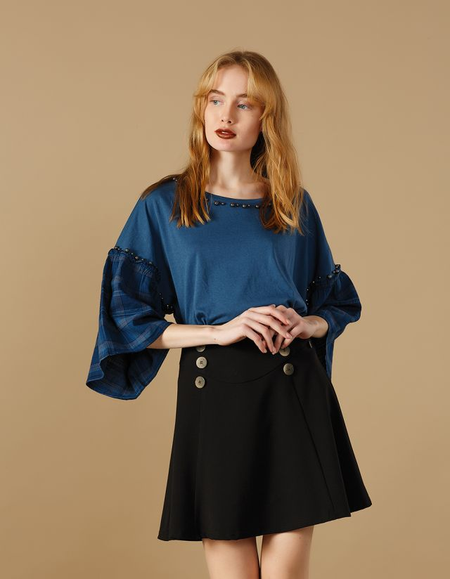 BLOUSE WITH CHECKED SLEEVES