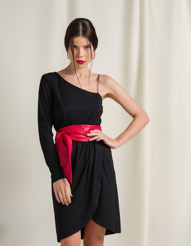 MIDI ONE-SHOULDER DRESS
