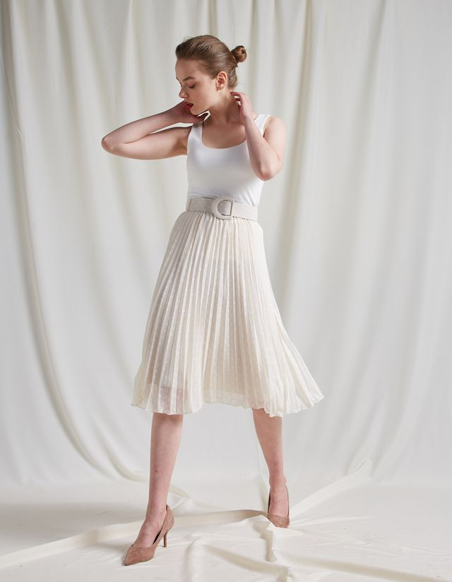 MIDI SKIRT WITH PLEATS AND BELT
