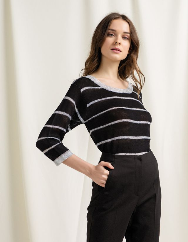 STRIPED LUREX SWEATER