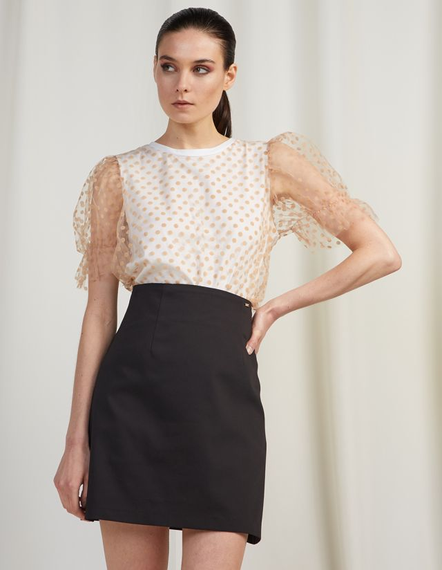 POLKA DOT TOP WITH TULLE