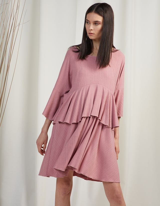 RIBBED DRESS WITH FRILLS