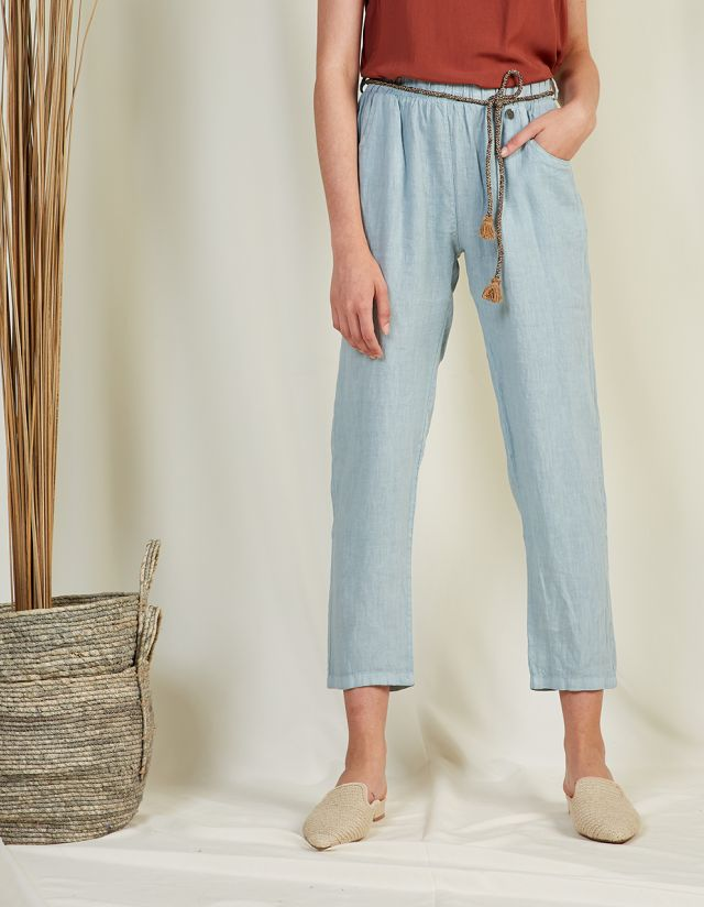 LINEN TROUSERS WITH CORD