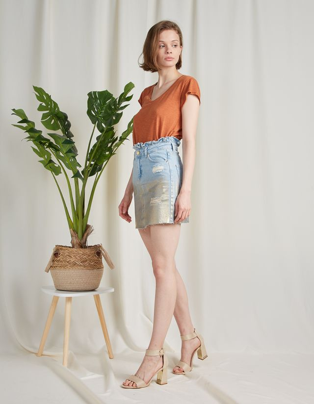 MINI DENIM SKIRT WITH GOLD FOIL