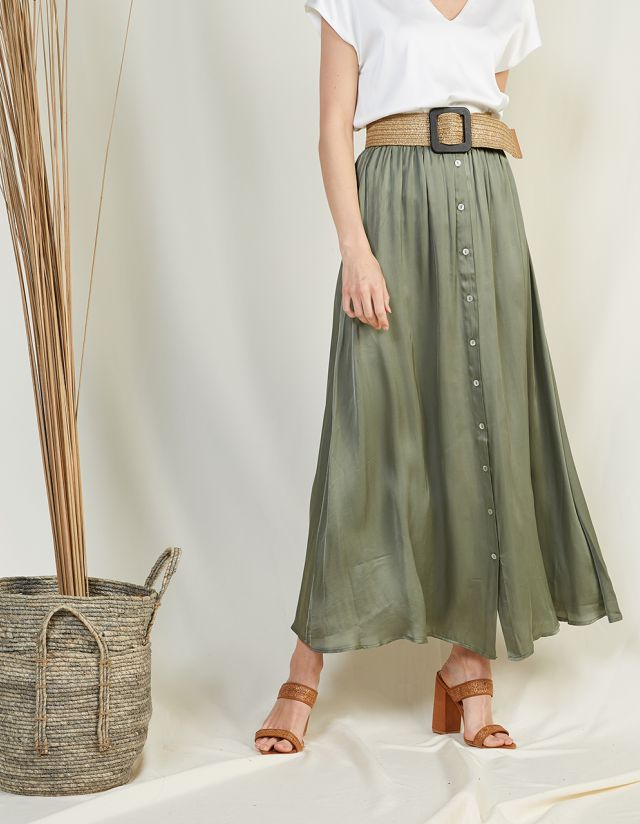 BUTTON UP SATIN TOUCH MAXI SKIRT