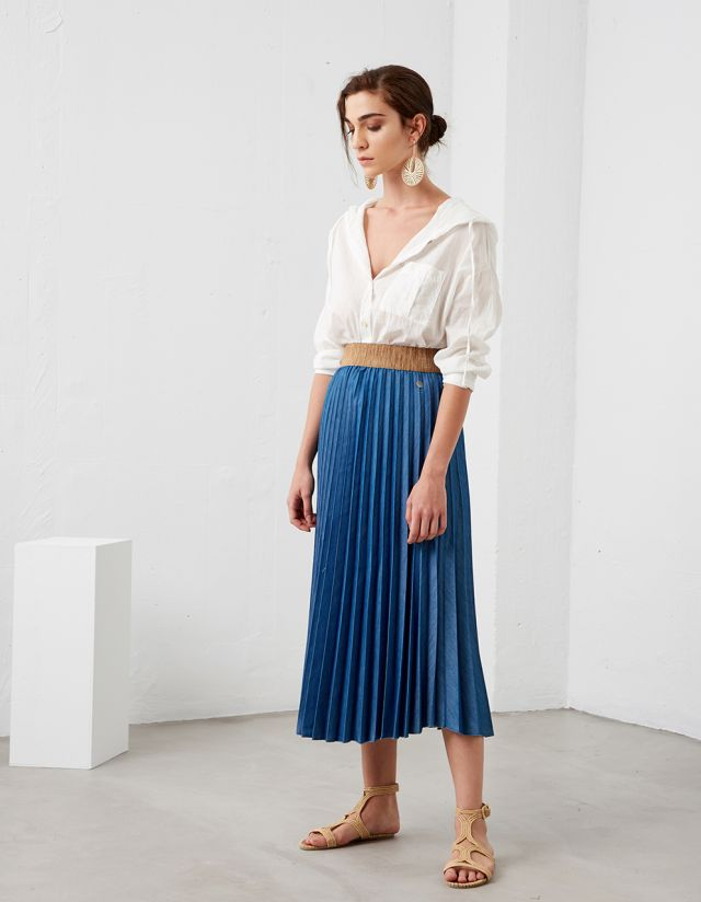 MIDI DENIM SKIRT WITH PLEATS