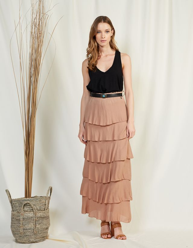 MAXI SKIRT WITH FRILLS
