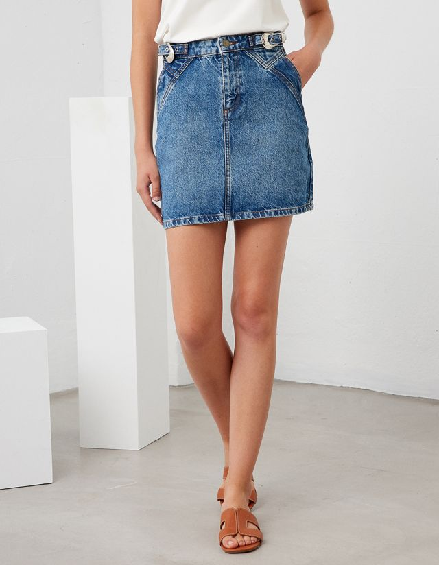 DENIM SKIRT WITH BUCKLE