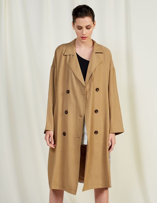 TRENCH COAT WITH CHECKED PRINT