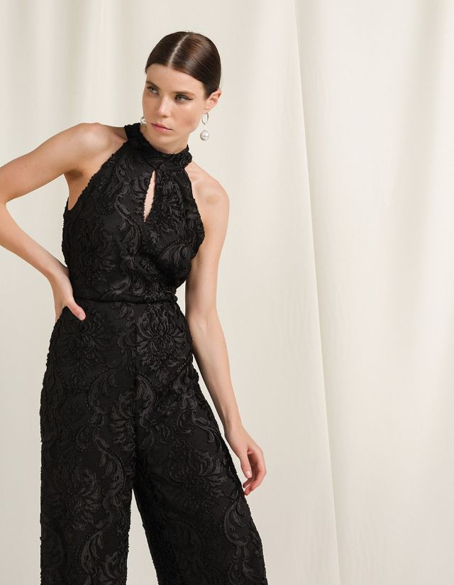 JUMPSUIT WITH VELVET FLORAL PRINT