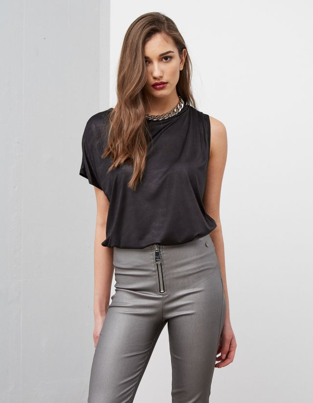 ASYMMETRIC LEATHER EFFECT TOP