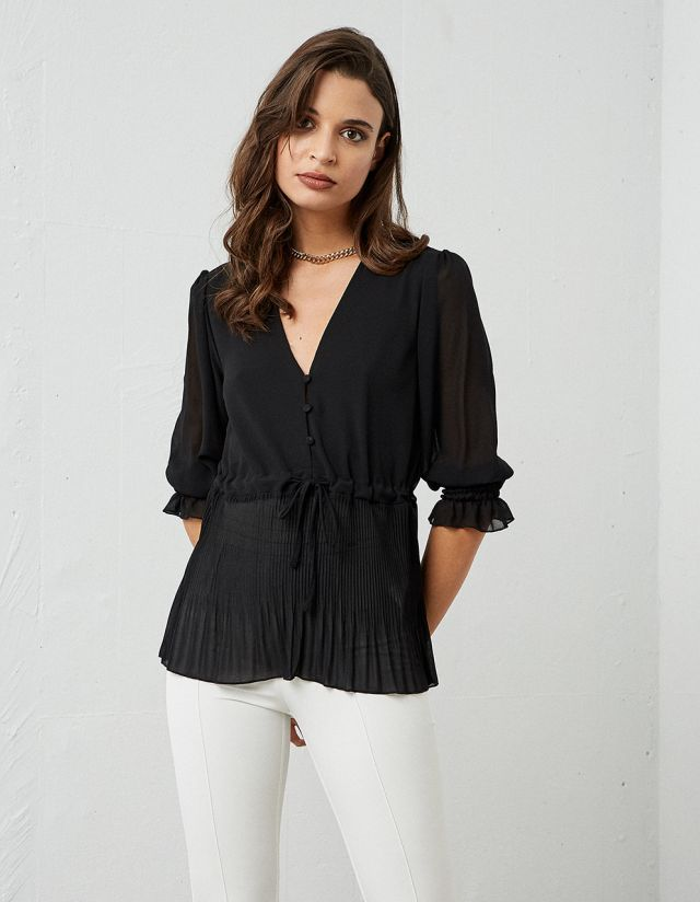 CHIFFON BLOUSE WITH PLEATS