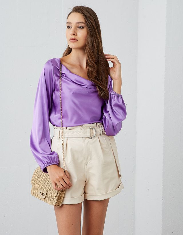 DRAPED SATIN TOP