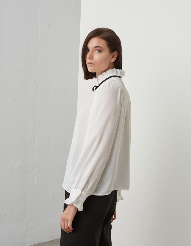 SEMI-SHEER BLOUSE WITH BOW