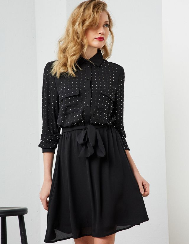 SHIRT DRESS WITH STUDS