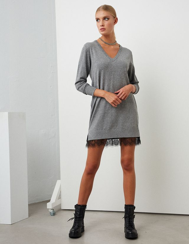KNIT MINI DRESS WITH LACE HEM