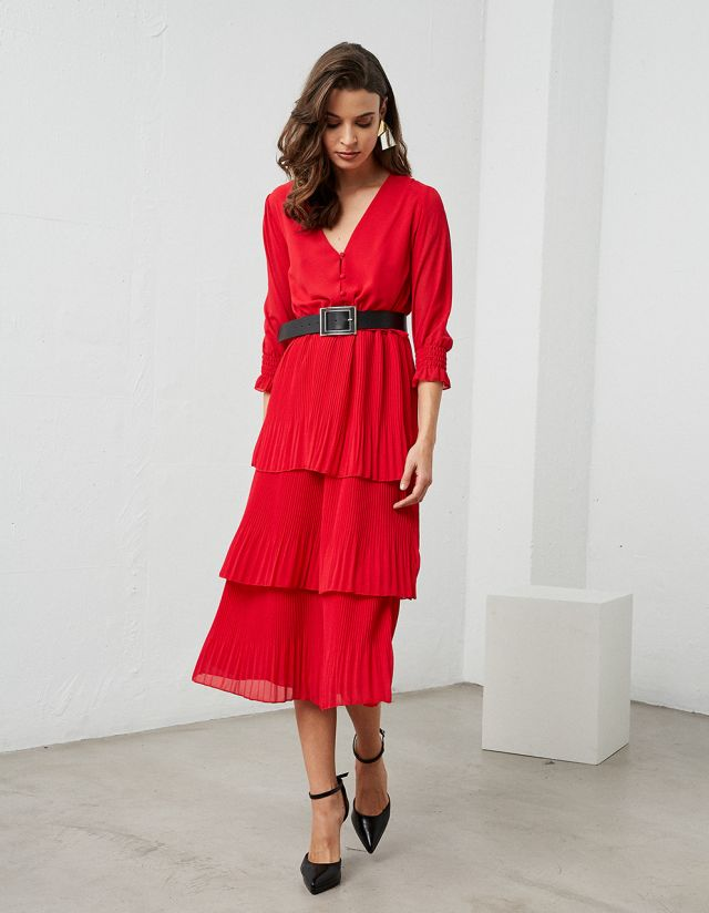 MIDI DRESS WITH FRILLS