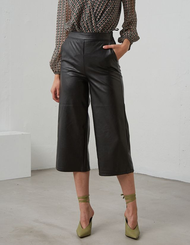LEATHER EFFECT TROUSERS