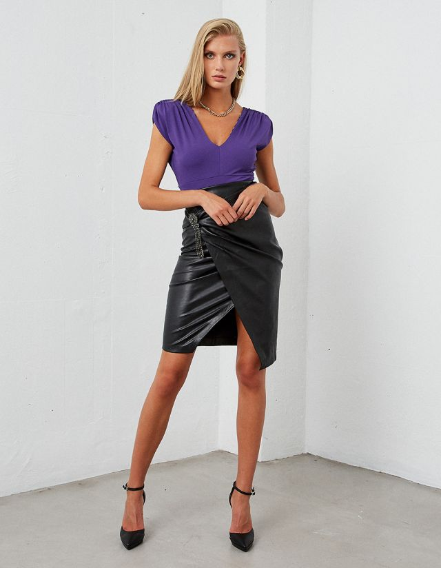 MIDI LEATHER LOOK SKIRT