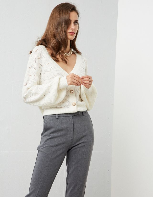 POINTELLE CARDIGAN WITH PEARL BUTTONS