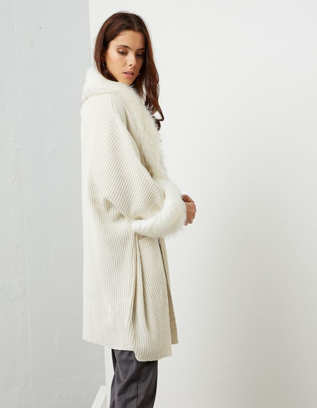 KNIT CARDIGAN WITH FAUX FUR TRIM