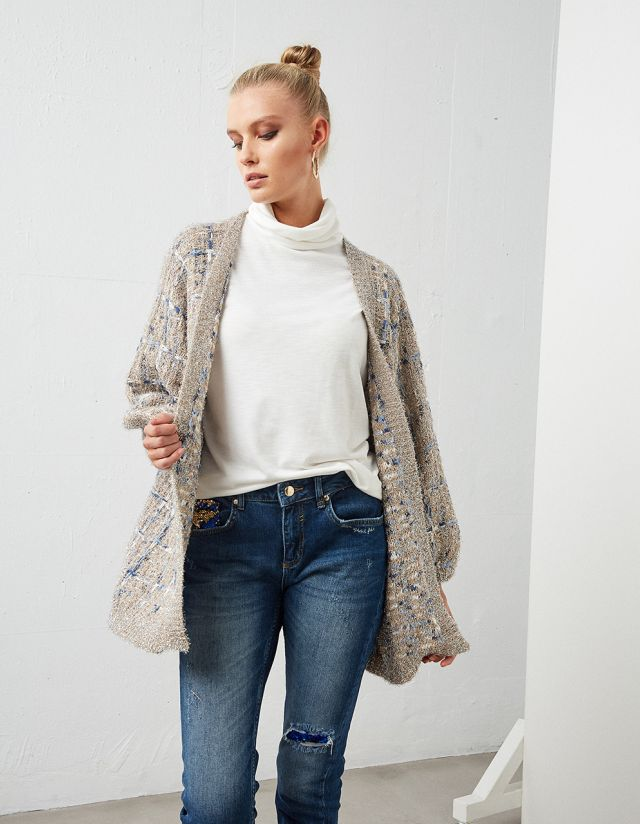 BALLOON SLEEVE LUREX CARDIGAN
