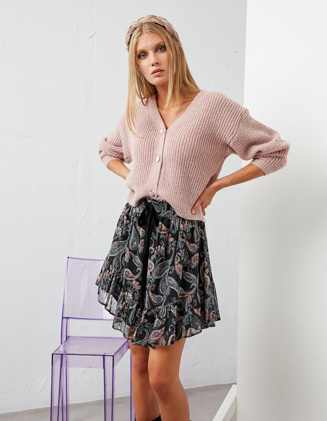 KNITTED CARDIGAN WITH BEJEWELED BUTTONS
