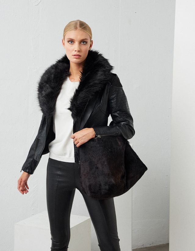 BIKER JACKET WITH FAUX FUR