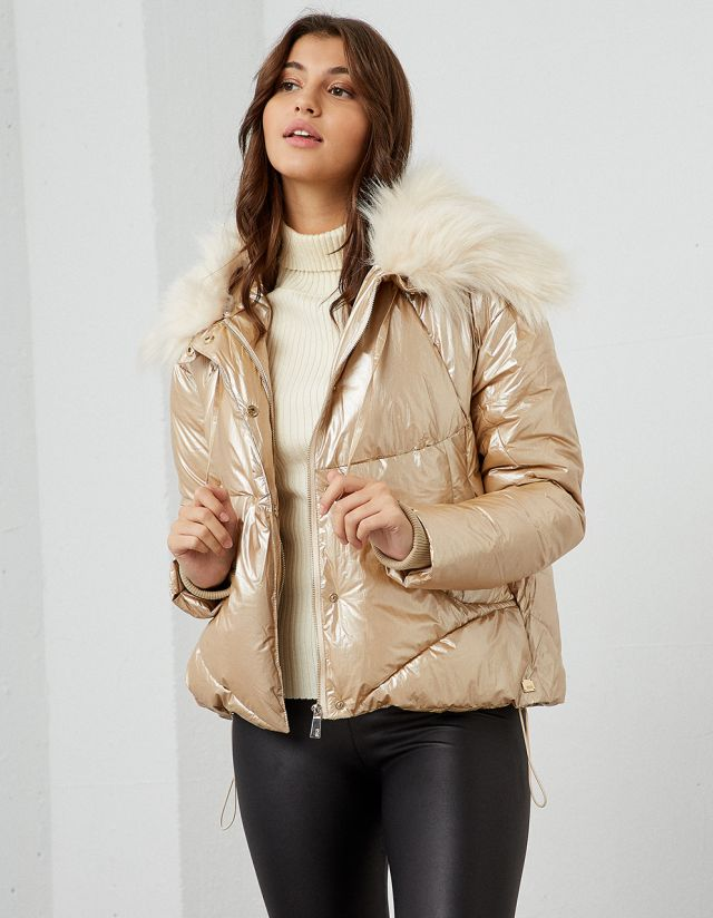 PUFFER JACKET WITH REMOVABLE FUR