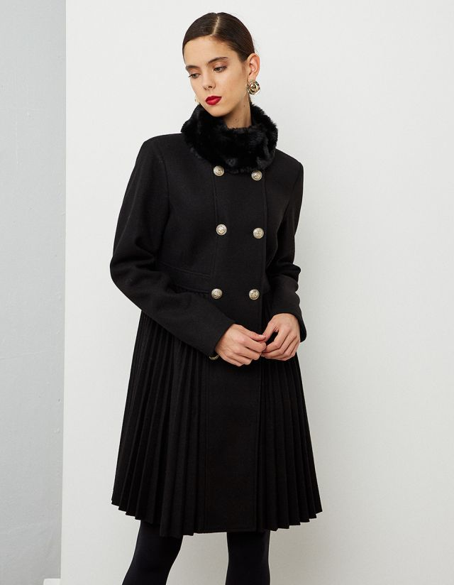 A-LINE PLEATED COAT