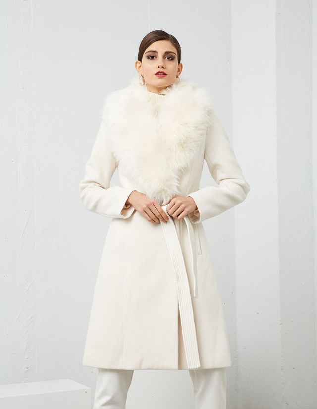 COAT WITH FAUX FUR LAPEL COLLAR