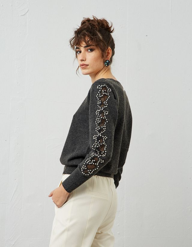 PULLOVER WITH BEJEWELED SLEEVES