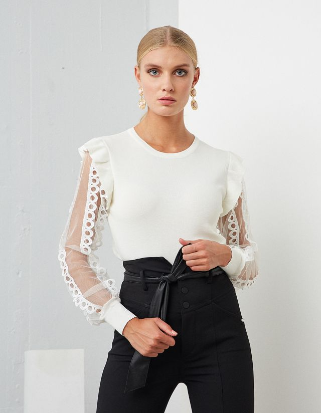 SWEATER WITH TULLE SLEEVES