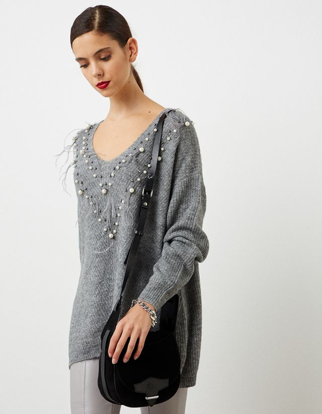 KNIT SWEATER WITH BEADS