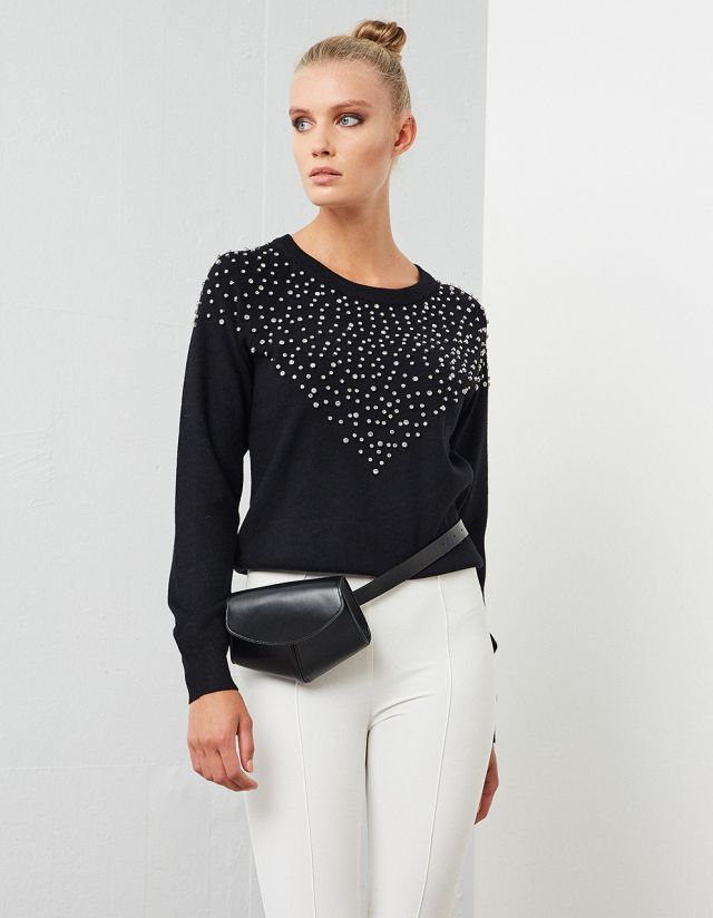 SWEATER WITH EMBELLISHED DETAILS