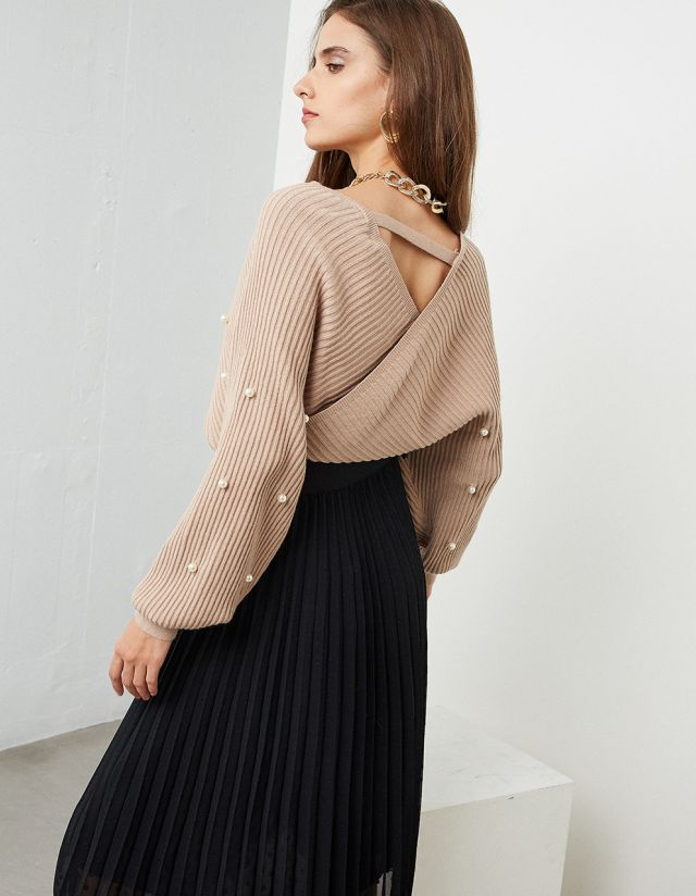 WRAP JUMPER WITH PEARLS