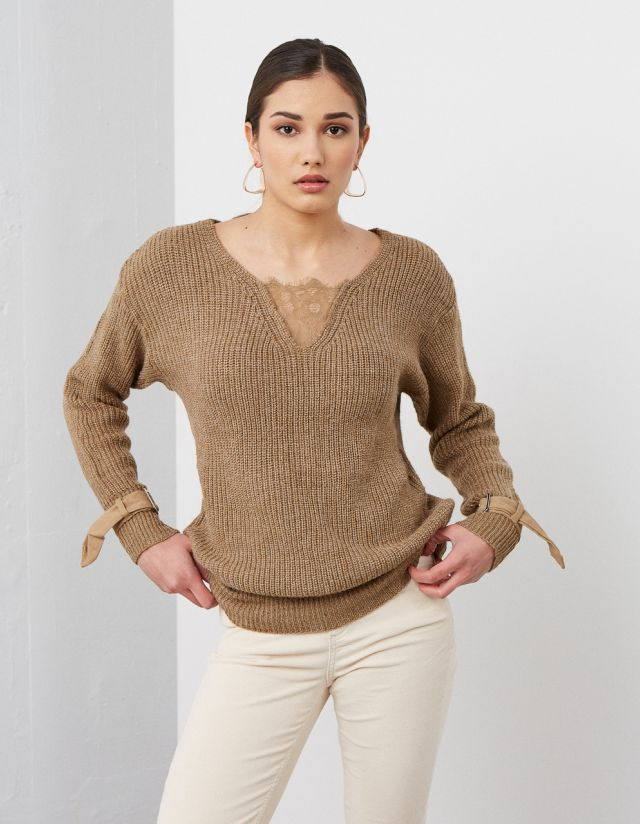 RIBBED SWEATER WITN SLEEVE STRAPS