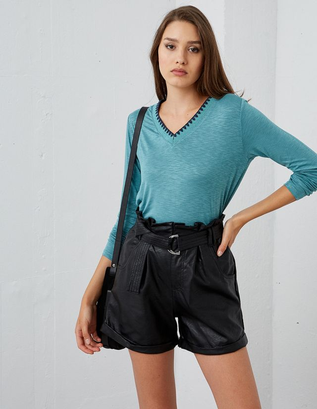 LONG SLEEVE TOP WITH LUREX DETAIL