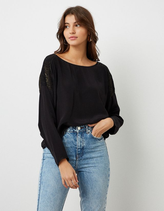 BLOUSE WITH METALLIC FRINGES