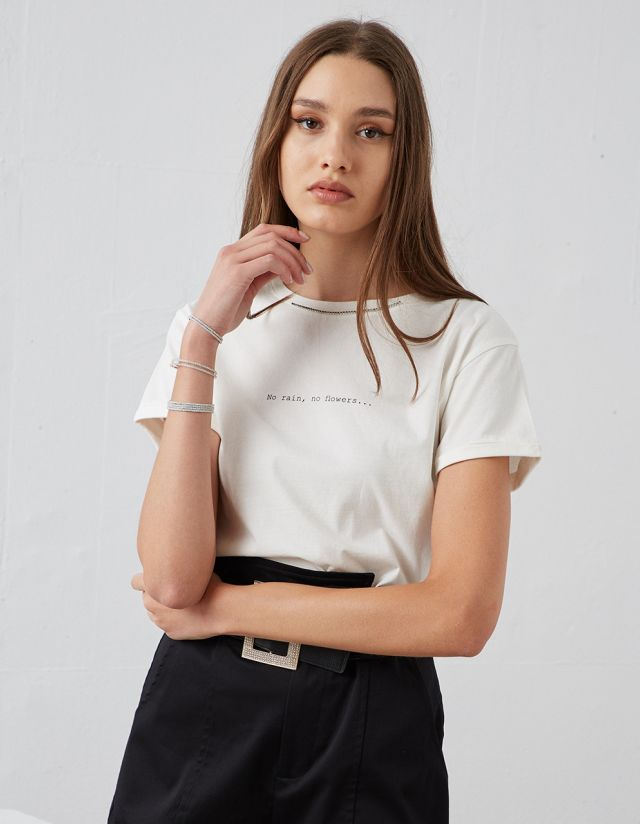COTTON T-SHIRT WITH JEWELS
